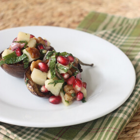 Roasted Eggplant with Walnuts, Pomegranate and Mint
