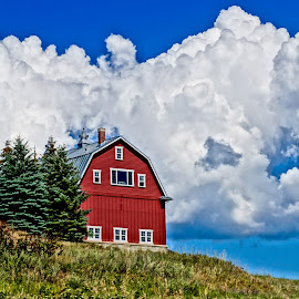 Beauty of a Barn by Barbara Brock - Buildings & Architecture Other Exteriors ( farm, red barn, cloudy skies, new barn beautiful barn, farming )