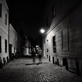 mystery street by František Valčík - City,  Street & Park  Night