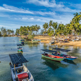 fisherman boat by Xicro Kuyon - Transportation Boats ( relax, travel, beach, asian, sky, tree, nature, village, working, journey, tourism, sunlight, palm, holiday, vacation, turquoise, outdoors, shore, reflection, coconut, tropical, ocean, coastline, landscape, exotic, coast, sun, island, tranquil, sri, transport, asia, water, clouds, sand, beautiful, tropic, sea, seascape, scenic, paradise, boat, morning, fishermen, wooden, blue, background, fishing, scenery, fisherman )
