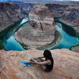 Lost in the view by Rachna Niranjan - Landscapes Caves & Formations ( colorado river, desert, grand canyons, page, arizona, horseshoe bend, relax, tranquil, relaxing, tranquility )