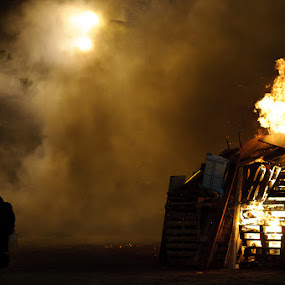 The Incendiary by Ada Panich - News & Events World Events ( bonfire, nikon d300, night, man, fire, smoke )
