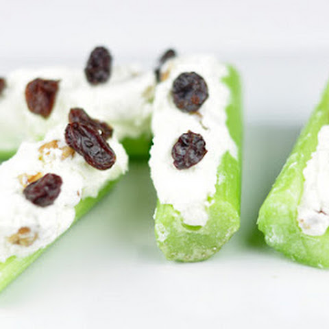 CREAM CHEESE STUFFED CELERY WITH WALNUTS AND RAISINS