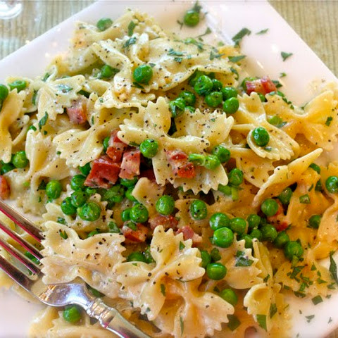 Farfalle Carbonara with Pancetta & Peas
