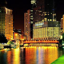 Chicago River #riversidewalk  #riverlights by Ankur Singh - City,  Street & Park  Night