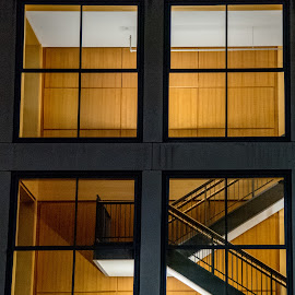 Peeping by Tomek Karasek - Buildings & Architecture Architectural Detail ( wood, window, staircase, night, light )