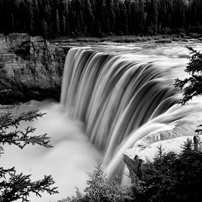 Alexandra Falls by Drew May - Landscapes Waterscapes ( drewmayphoto, alexandra falls, black & white, waterfall, drew may photo, trees, rock, day, northwest territories, river )