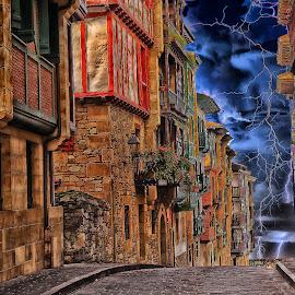 Storm on Fontarrabi by Gérard CHATENET - Digital Art Places