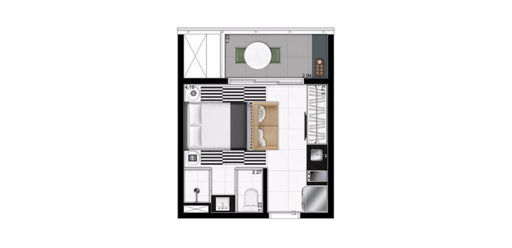 Planta Studio de 23 m²