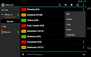 Screenshot of Hiking Planner