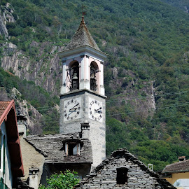 Ticino, Switzerland by Serguei Ouklonski - Buildings & Architecture Public & Historical ( hill, old, building, mountain, wood, church, no person, traditional, tourism, architecture, travel, house, landscape, religion, tower, sky, tree, outdoors, monastery, streetview architecture )