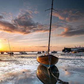 Touch of Gold by Brens Photo's - Landscapes Waterscapes ( water, sunset, harbour, seascape, boat, light )