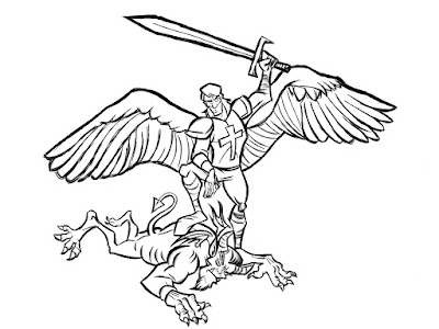St michael wip 2 by demodaved for Archangel michael coloring page