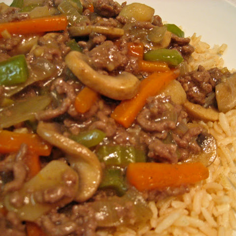 Stir-Fried Ground Beef and Mushrooms