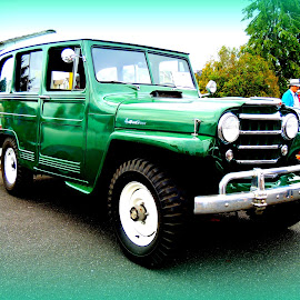 '54 Willies Jeep by Becky Luschei - Transportation Automobiles ( vintage, green, '54 willies jeep, white, off road, fun )