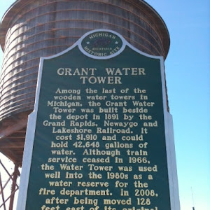 Among the last of the wooden water towers in Michigan, the Grant Water Tower was built beside the depot in 1891 by the Grand Rapids, Newaygo and Lakeshore Railroad. It cost $1,910 and could hold ...