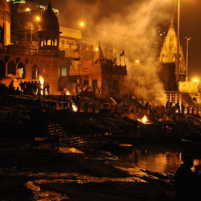 Marnkarnika Ghat, Varanasi by Manish Mishra - City,  Street & Park  Historic Districts
