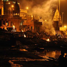 Marnkarnika Ghat, Varanasi by Manish Mishra - City,  Street & Park  Historic Districts