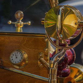 How things were made. by Eva Krejci - Transportation Automobiles ( car, red, emblem, clock, vintage, color, lamp, brass, dashboard )