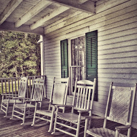 Porch Time by Lisa LaBelle - Artistic Objects Furniture ( rocking chairs, relax, florida, state park, plantation, porch,  )