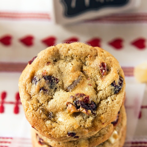 Cranberry and Ginger White Chocolate Chip Cookies