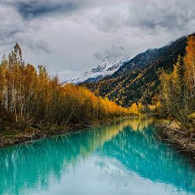 Autumn Reflections by Patricia Phillips - Landscapes Waterscapes ( autumn alaska eklutna )