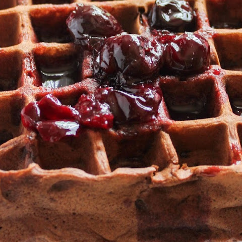 Dark Chocolate Waffles with Cherry Syrup