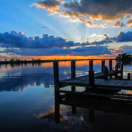 A Southern Pier by Wendy  Walters - Landscapes Waterscapes