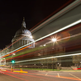 Speeding Bus in London by Augustin Galatanu - Buildings & Architecture Places of Worship ( bus, london, light trails, long exposure, night shot, st paul's cathedral )