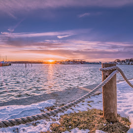 February Sunset by Justin Galusha - Landscapes Waterscapes ( sunset, hull, wharf )
