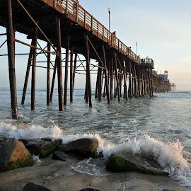 Oceanside Pier by Dawn Hoehn Hagler - Buildings & Architecture Bridges & Suspended Structures ( oceanside, sunset, california, oceanside pier, pier )