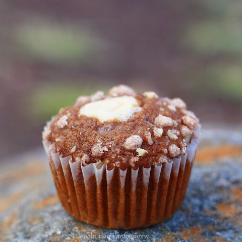Pumpkin Nut Streusel Muffins with Cream Cheese Filling