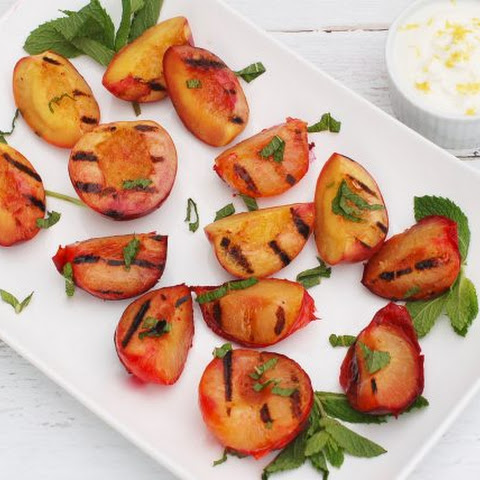 Grilled Stone Fruit with Honey Lemon Yogurt Sauce