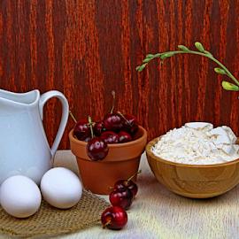 by Dipali S - Food & Drink Cooking & Baking ( vase, eggs, flour, flora, breakfast, bread, milk, food, flowers, cherries )