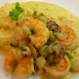 Shrimp and Scallops with Cheesy Grits
