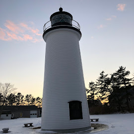 Light house on Plum Island by Kristine Nicholas - Novices Only Landscapes ( clouds, building, winter, sunset, ma, snow, lighthouse, trees, architecture, dusk, newburyport, island )