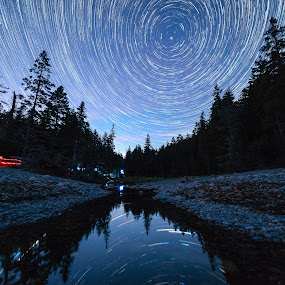 Star trails over Hunter's Brook by Aaron Priest - Landscapes Starscapes ( hunter's beach, hunter's brook, workshop, mount desert island, maine, night photography, acadia national park, stars, night, night sky, startrails, coast )