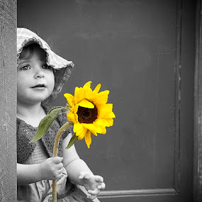 Sunflower by Julie Wetherell - Babies & Children Children Candids ( child, sweet, girl, sunflower, smile, pretty, flower )