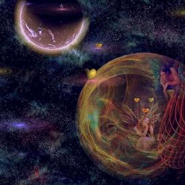 Dream Lover by Nancy Bowen - Illustration Sci Fi & Fantasy ( dreaming, hearts, 2 worlds, stars, faeries )
