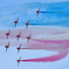 Red Arrows by Brian Pierce - Transportation Airplanes ( red arrows, sky, falmouth, airplane, display,  )
