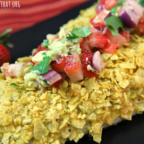 Tortilla Crusted Fish with Strawberry Avocado Salsa #strawberrymonth