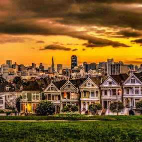 Painted ladies by Artem Kevorkov - City,  Street & Park  Skylines ( clouds, orange, alamo square, houses, hdr, grass, skyscrapers, green, california, colors, yellow, sky, sunset, sunrise, san francisco, downtown )