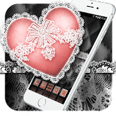 Download Silver Heart: Black and White Lace Theme APK to PC