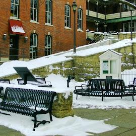 Galena Snowy Park by Kathy Rose Willis - City,  Street & Park  City Parks ( galena, benches, illinois, snow, white )