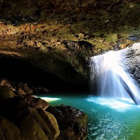 Pierce the heavens  by Ty Hanson - Landscapes Caves & Formations ( water, 2013, arch, finchzero, green, waterfall, beautiful, cave, ty hanson, photo, photography, blue, natural, formation )