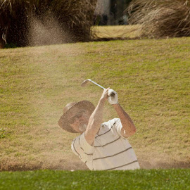 Sand Shower by Lisa Cozene - Sports & Fitness Golf ( sand, spray, bunker, golf )