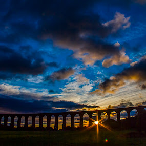 Clava Viaduct at sunrise . by Gordon Bain - Landscapes Sunsets & Sunrises ( railway, clava viaduct, dramatic sky, sunrise, inverness )