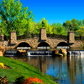 EAGLE BRIDGE by Gerry Slabaugh - City,  Street & Park  City Parks ( idaho, eagle idaho, eagle bridge, waterfall, boise river, bridge, eagle island,  )