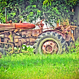 Back On The Farm.... by Melanie Goins - Transportation Other ( farm, old, vintage, broke down, tractor )