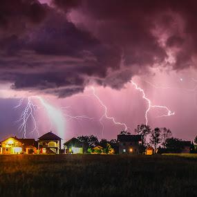 Storm is coming II by Srdjan Vujmilovic - Landscapes Weather ( clouds, thunder, skyline, houses, lightning, sky, weather, storm, light )